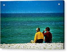 Sunny Winter Day At Beach Acrylic Print by Dave Bosse