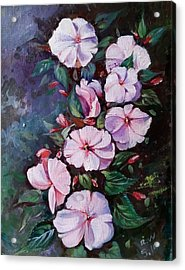 Acrylic Print featuring the painting Sunpatiens Flowers by Rose Wang