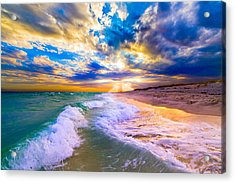 Acrylic Print featuring the photograph Sunrays Breaking Over Blue Sea-destin Florida Sunset by eSzra