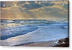 Sunrays On An Angry Sea Acrylic Print