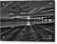 Sunrays Through The Pier In Black And White Acrylic Print