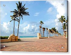 Sunrise Along The Hollywood Beach Boardwalk Acrylic Print by Shawn Lyte