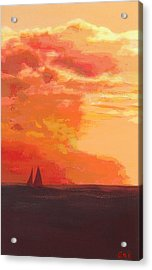 Acrylic Print featuring the painting Sunrise And Sails Emerald Isle North Carolina by G Linsenmayer