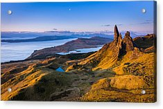 Sunrise And The Moon Over The Old Man Of Storr Acrylic Print