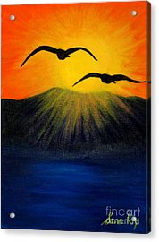 Sunrise And Two Seagulls Acrylic Print