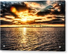 Sunrise At Ft. Desoto In Hdr Acrylic Print by Michael White