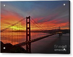 Sunrise Over The Golden Gate Bridge  Acrylic Print by Peter Dang