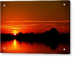 Sunrise At Jefferson Memorial Acrylic Print by Metro DC Photography