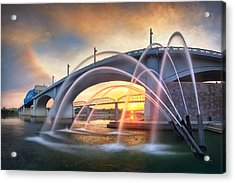 Sunrise At John Ross Landing Fountain Acrylic Print by Steven Llorca