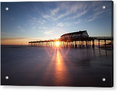 Sunrise At Kitty Hawk Pier Acrylic Print