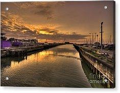 Sunrise At Lowestoft Harbour  Acrylic Print by Rob Hawkins