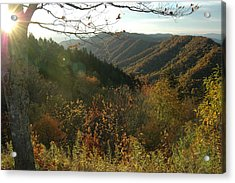 Sunrise At New Found Gap Acrylic Print by John Saunders