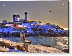 Sunrise At Nubble Lighthouse - Cape Neddick - York Maine Acrylic Print
