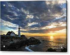 Sunrise At Portland Head Light Acrylic Print by Diane Diederich