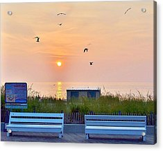 Sunrise At Rehoboth Beach Boardwalk Acrylic Print