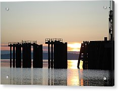 Acrylic Print featuring the photograph Southworth Ferry Pilling At Dawn by E Faithe Lester
