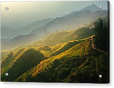 Sunrise At Terrace In Guangxi China 2 Acrylic Print by Afrison Ma