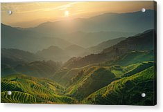 Sunrise At Terrace In Guangxi China 7 Acrylic Print by Afrison Ma