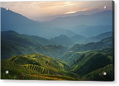 Sunrise At Terrace In Guangxi China 8 Acrylic Print by Afrison Ma