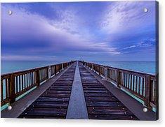 Sunrise At The Panama City Beach Pier Acrylic Print by David Morefield