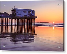 Sunrise At The Pier On Oob Acrylic Print by Shane Borelli