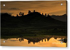 Sunrise Behind A Yellowstone Ridge Acrylic Print