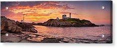 Sunrise Behind Cape Neddick  Acrylic Print by Scott Lynde