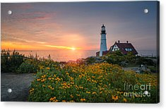 Sunrise Bliss At Portland Lighthouse Acrylic Print