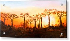 Acrylic Print featuring the painting Sunrise Boab Trees by Renate Voigt