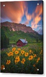 Sunrise Cabin Acrylic Print by Darren  White