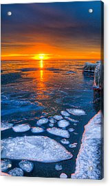 Sunrise Chicago Lake Michigan 1-30-14 04 Acrylic Print by Michael  Bennett