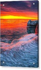 Sunrise Chicago Lake Michigan 1-30-14 Acrylic Print by Michael  Bennett
