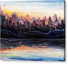 Acrylic Print featuring the painting Sunrise City by Shana Rowe Jackson