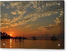 Sunrise Colors With Storms Building On Sound Acrylic Print by Jeff at JSJ Photography
