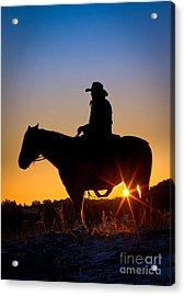 Sunrise Cowboy Acrylic Print by Inge Johnsson