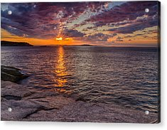 Sunrise Drama Acadia National Park Acrylic Print by Jeff Sinon