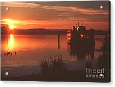 Sunrise Ferry Acrylic Print by Jeanette French