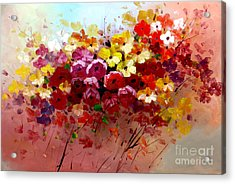 Sunrise Flowers - Abstract Oil Painting Original Modern Contemporary Art House Wall Deco Acrylic Print by Emma Lambert