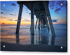 Sunrise From Under Johnnie Mercer's Pier Wrightsville Beach Nc Acrylic Print