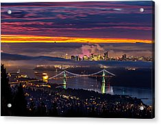 Sunrise From West Vancouver Acrylic Print by Pierre Leclerc Photography