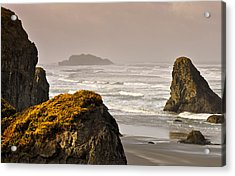 Acrylic Print featuring the photograph Sunrise Gold And Surf by Kevin Munro