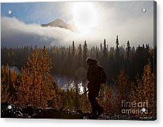 Sunrise Hiker Acrylic Print by Chris Heitstuman
