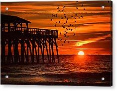 Sunrise In Myrtle Beach With Birds Flying Around The Pier Acrylic Print by Vizual Studio
