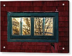 Acrylic Print featuring the photograph Sunrise In Old Barn Window by Susan Capuano