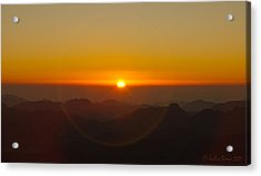 Acrylic Print featuring the pyrography Sunrise In Sinai Mountains by Julis Simo