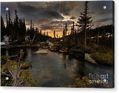 Sunrise In The Indian Peaks Acrylic Print