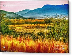 Sunrise In Verde Valley Arizona Acrylic Print by Bob and Nadine Johnston