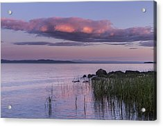 Sunrise Lake Champlain Shore Vermont Clouds Acrylic Print by Andy Gimino