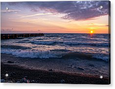 Sunrise Lake Michigan August 8th 2013 Wave Crash Acrylic Print