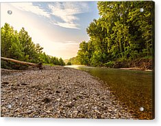 Sunrise Light On Buffalo River Acrylic Print by Bill Tiepelman
